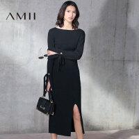 【预售】Amii2017秋修身绑带长袖开衩包臀半裙针织套装11781436