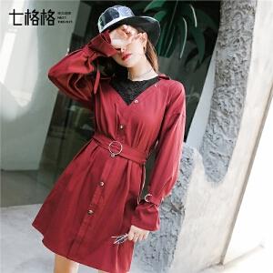 七格格红色露肩连衣裙秋装女新款时尚收腰假两件短款蕾丝裙子