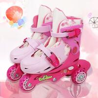 儿童轮滑女童玩具2-3-4-5-6 岁初学者公主粉直排轮男孩溜冰鞋