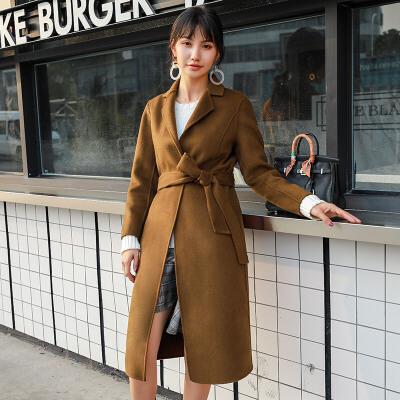 双面羊毛呢大衣女中长款韩国小个子收腰秋季2018新款呢子外套冬装