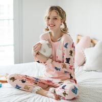 芬腾睡衣女秋季新款长袖圆领套头女士可爱卡通休闲针织棉质长裤秋季家居服套装