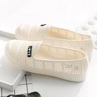 夏季白色塑料凉鞋女透气护士工作凉鞋软底妈妈鞋防水小白鞋女