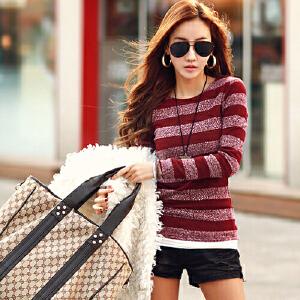 2017春秋装新款长袖t恤女大码修身显瘦韩版圆领条纹针织打底衫女