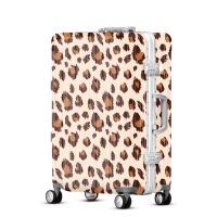 2018新款品牌卡通印花可爱时尚豹纹旅行箱abs行李箱pc拉杆箱镜面硬箱