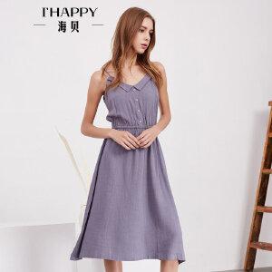 海贝夏季新款女装 文艺纯色翻领松紧收腰中长款吊带连衣裙