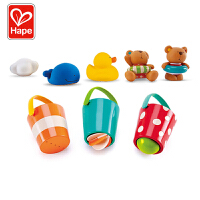 Hape泰迪和朋友们戏水玩偶组+花式水漏桶组合1-6岁宝宝洗澡玩具戏水浴室玩具婴幼玩具Suit0030