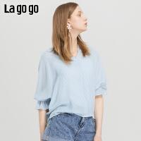 【领�幌碌チ⒓�120元无门槛优惠券】Lagogo/拉谷谷2019蝙蝠袖系带条纹上衣女IASS424C14