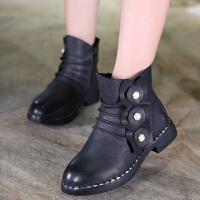 2017秋冬新款童鞋立体花朵珍珠女童靴子儿童短靴防滑皮靴