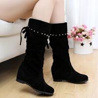 中筒靴女平底休闲女短靴子女士坡跟高筒长靴冬季加绒内增高女鞋潮