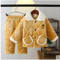 冬季加厚保暖夹棉珊瑚绒法兰绒男女童小孩中大童家居服儿童睡衣