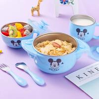迪士尼不锈钢儿童餐具套装婴儿防摔辅食碗勺宝宝注水保温碗吸盘碗
