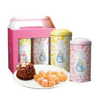 【年货】一之乡 彼得兔欢乐桶新年礼盒 台湾进口巧克力脆芙QQ软糖休闲零食品