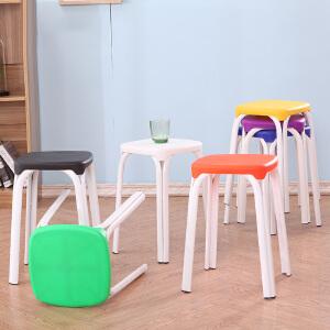 餐椅 塑料板凳方凳子椅子家用餐桌餐凳加厚成人时尚创意高凳高圆凳家居用品
