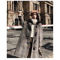 毛呢外套女2018秋冬韩版英伦风宽松翻领格子中长款学生牛角扣外套 图片色
