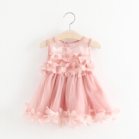0-1周�q新款女����夏�b�和�背心裙��喝棺�1-2-3�q夏季女童�B衣裙 粉色 蕾�z花瓣