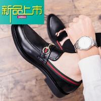 新品上市皮鞋男士韩版潮鞋英伦百搭懒人一脚蹬潮流青少年休闲型师男鞋子