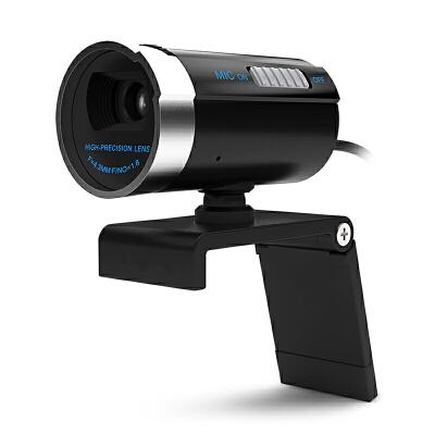 台式电脑用高清摄像头笔记本视频头带麦克风话筒美颜主播 黑色 即插即用 带话筒开关 高清晰 弱光增益