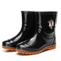 雨靴雨鞋男士半筒中短筒耐磨防滑牛筋底水鞋套鞋防水胶鞋劳保靴子 黑色
