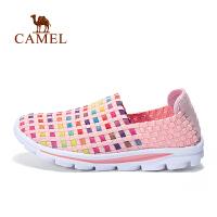 【跨店每满200-100】camel骆驼户外休闲鞋女款松紧织带舒适透气轻便套脚休闲鞋