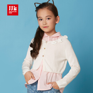 jjlkids季季乐童装春秋新款女童毛衣针织衫线衣薄开衫纯色休闲线衣GCM61038
