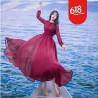 原创2017春款雪纺长袖绣花娃娃领修身复古大摆连衣裙仙女旅游度假长裙GH04 酒红色