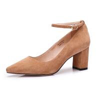 camel 骆驼女鞋 2018春季新款 性感尖头高跟单鞋简约纯色粗跟鞋女