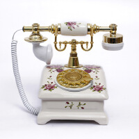至臻时尚创意陶瓷仿古电话机 转盘 欧式田园复古座机家用办公517S
