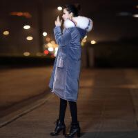 大毛领金丝绒羽绒服女士中长款2018新款加厚韩版时尚过膝冬款反季