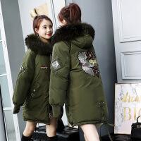 冬季女中长款韩版加厚大毛领连帽羽绒棉袄女2018新款外套宽松