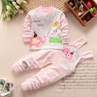 婴儿开衫内衣春秋两件套装新生儿0-3月男女童6纯棉背带裤宝宝衣服