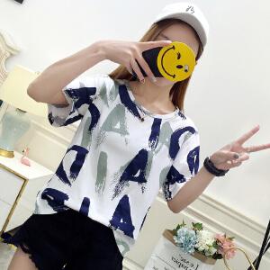 短袖T恤女宽松夏夏季创意印花打底体恤休闲上衣学生女