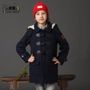 男童呢子大衣 儿童恐龙加绒加厚外套中长款夹克冬装小虎宝儿童装