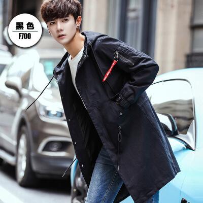 男士风衣中长款秋冬季新款2018韩版学生加绒外套潮流秋装流行大衣