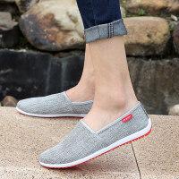 夏季男鞋子男士休闲老北京布鞋男一脚蹬男懒人鞋透气豆豆鞋男网鞋