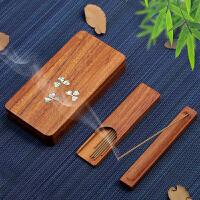 家用室内嵌贝螺钿香薰炉 红木质便携式线香盒沉香炉香道卧香插