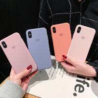 莫兰迪色系小爱心8plus苹果x手机壳XS Max/XR/iPhoneX/7p/6女