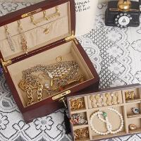 木质首饰盒带锁 复古收纳盒公主多层 生日结婚礼物
