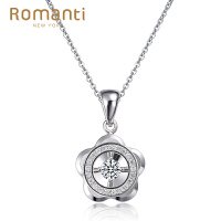 罗曼蒂珠宝白18K金钻石吊坠女款时尚简约款钻石项链项坠定制铂金 需定制