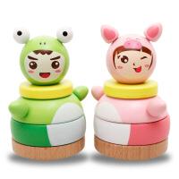 木丸子 木制环保儿童玩具青蛙不倒翁 彩虹塔套柱 儿童益智玩具