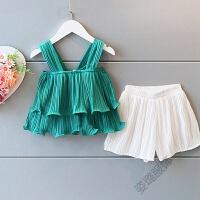 儿童装女童雪纺吊带短裤两件套装宝宝时尚2018夏装 绿色