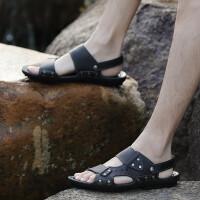 新款夏季透气真皮凉鞋运动户外休闲男士沙滩鞋防滑凉拖两用拖鞋皮托鞋