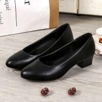 【】低跟工作鞋女黑色百搭中跟单鞋正装皮鞋休闲鞋职业鞋女