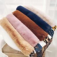 毛领女冬季潮蝴蝶结飘带豹纹毛毛围巾毛领子秋冬天