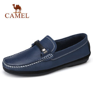 camel 骆驼男鞋2018春季牛皮豆豆鞋休闲套脚轻便驾车鞋潮流鞋子