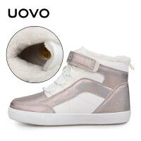 UOVO 童鞋 秋季新款女童搭扣休闲鞋加绒棉鞋 中大儿童高帮学生鞋 塞维利亚P