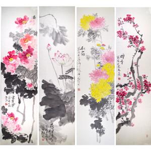 北京美术家新锐联盟专职画家柳青《花鸟四扇屏》35*138cm