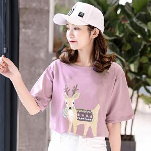 短袖t恤女时尚装学生韩版圆领白色上衣宽松休闲体恤