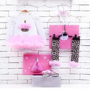 货到付款 Yinbeler婴儿哈衣长袖棉春夏新生儿0-12个月满月礼物女宝宝公主裙立体礼盒套装蛋糕款