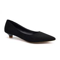 鞋子女2019新款浅口女鞋高跟鞋尖头绒面黑色女春低跟单鞋女工作鞋夏季百搭凉鞋