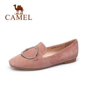 Camel/骆驼女鞋 2017新款时尚镶钻金属圆扣平底乐福鞋磨砂羊琼单鞋